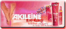 The Akileine Red range of foot crèmes and balms are formulated to decongest and soothe tired, swollen feet inflamed by walking, heat or tight shoes. They provide a pleasant sensation, freshness and enhance blood circulation.
