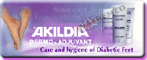 Akildia Crème is specially formulated for those who suffer from diabetes. The Akildia range Protects skin against harsh external factors. Prevents dehydration and limits the risk of hyperkeratosis. Preserves the skin's barrier function. Enhances tissue regeneration. The Akildia Foot wash Lotion.